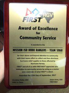 award issued to roborangers